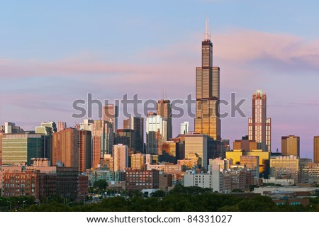 Chicago skyline at twilight. - stock photo