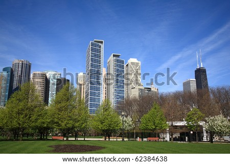 Chicago Skyline - Buildings of Chicago rise from a city park