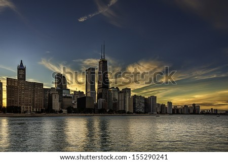 Chicago skyline by dusk - stock photo