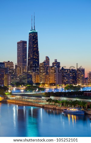 Chicago skyline. Chicago downtown skyline at dusk. - stock photo