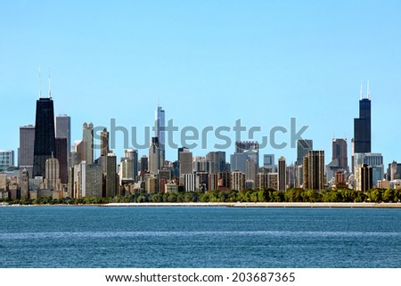 Chicago Skyline daytime view. - stock photo