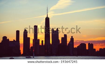 Chicago Skyline Dusk. The skyline of Chicago, Illinois at dusk. - stock photo