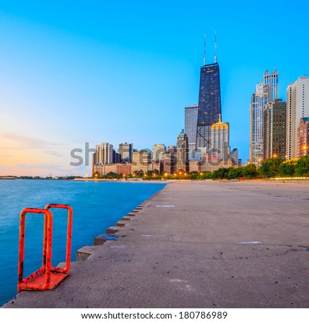 Chicago skyline from North Avenue Beach - stock photo