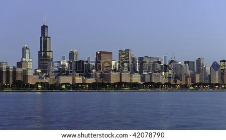 Chicago Skyline from the Adler Planetarium - stock photo