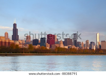 Chicago Skyline. Image of famous Chicago skyline at autumn sunrise.
