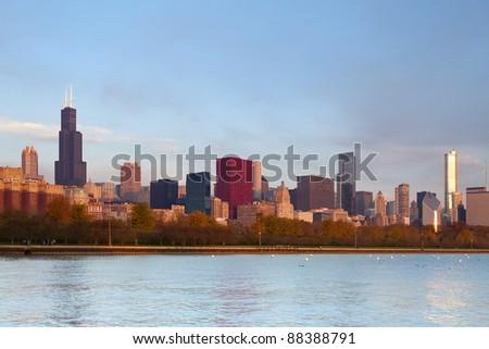 Chicago Skyline. Image of famous Chicago skyline at autumn sunrise. - stock photo