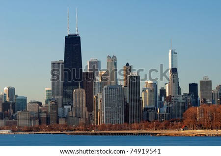 Chicago skyline in early spring morning light.