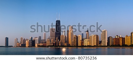 Chicago skyline in the morning light. - stock photo