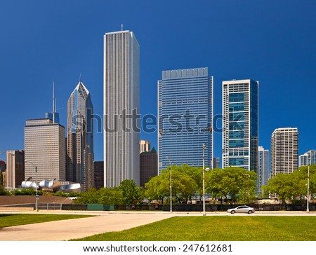 Chicago skyline of downtown buildings on a summer day with blue sky  - stock photo