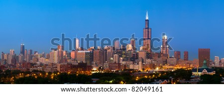 Chicago skyline panorama - stock photo