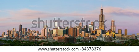 Chicago skyline panorama. - stock photo