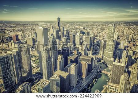 Chicago skyline panorama aerial view - stock photo
