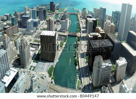 Chicago skyline panorama from 88th floor on Chicago river. - stock photo