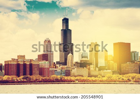 Chicago Skyline Panorama With Cloudy Sky - stock photo