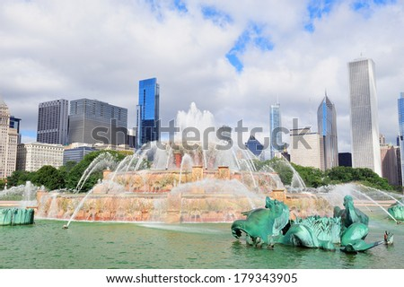 Chicago skyline panorama with skyscrapers and Buckingham fountain in Grant Park in the morning. - stock photo