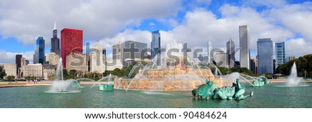 Chicago skyline panorama with skyscrapers and Buckingham fountain in Grant Park in the morning with cloud and blue sky. - stock photo