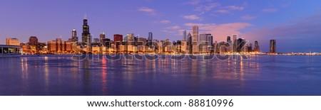 Chicago skyline panoramic - stock photo