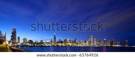 Chicago skyline panoramic at night - stock photo