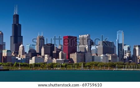 Chicago skyline summer panorama - stock photo