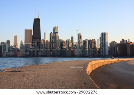 Chicago Skyline view along Lake Michigan close to sunset - stock photo