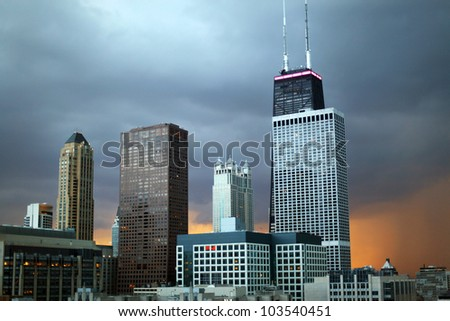 Chicago Skyline with John Hancock Building on a stormy day - stock photo
