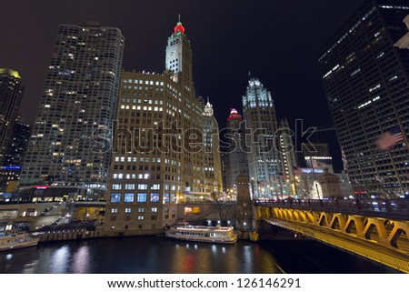 Chicago Skyscrapers and Michigan Avenue Bridge. Corner of East Wacker Drive and North Michigan Avenue. - stock photo