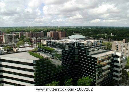 Chicago Suburbs - View from downtown Evanston - stock photo