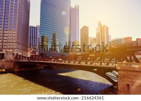 Chicago Sunset - stock photo