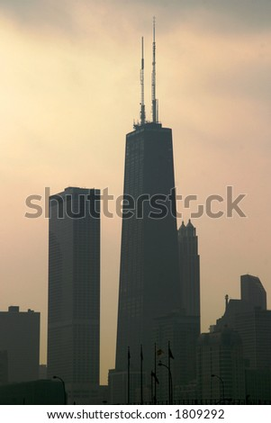 Chicago - Tall Towers - Downtown closeup from the Navy Pier on a stormy day - stock photo