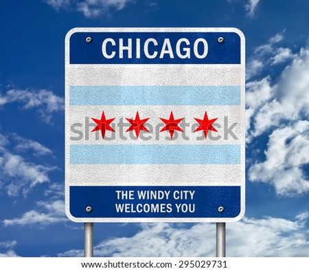 Chicago - The Windy City welcomes you - stock photo