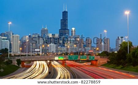 Chicago traffic. - stock photo