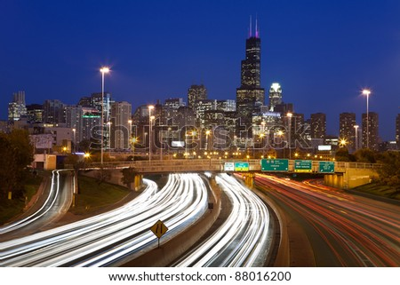 Chicago traffic. Busy interstate I94 heading to Chicago downtown. - stock photo