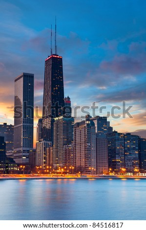 Chicago. Twilight blue hour at Chicago downtown. - stock photo