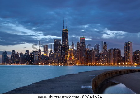 Chicago.Twilight blue hour at city of Chicago.