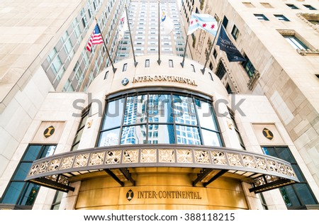 CHICAGO, UNITED STATES - AUGUST 24, 2014: Facade of InterContinental Chicago Magnificent Mile, is a member of Historic Hotels of America. - stock photo
