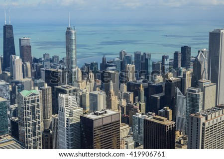 CHICAGO, UNITED STATES - OCTOBER 13, 2013 - landscape city of Chicago in Illinois with skyscrapers and lake michigan from willis tower. in the photo are no trademarks or recognizable people - stock photo