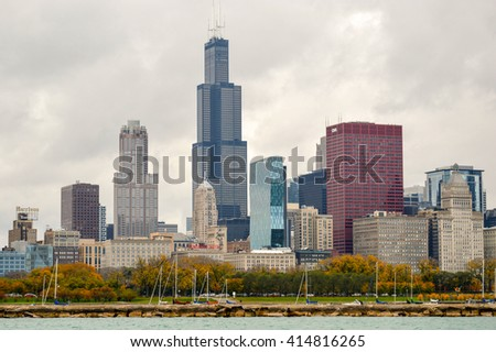 CHICAGO, UNITED STATES - OCTOBER 15, 2012 - view of the skyline of Chicago illinois Lake Michigan during the trip on the boat in autumn - stock photo