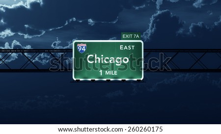 Chicago USA Interstate Highway Road Sign - stock photo