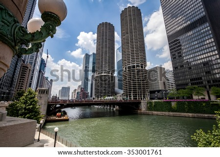 CHICAGO, USA - JULY 16: Famous Marina City Towers like corncob beside Chicago river in downtown of Chicago, Illinois, in July 16, 2013.Chicago is the biggest city in North of USA.