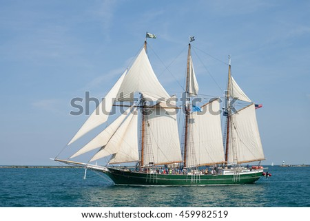 CHICAGO, USA - JULY 27, 2016: PEPSI TALL SHIPS CHICAGO 2016. Parade of Sail at Navy Pier. S/V Denis Sullivan - Three-Mastered Schooner
