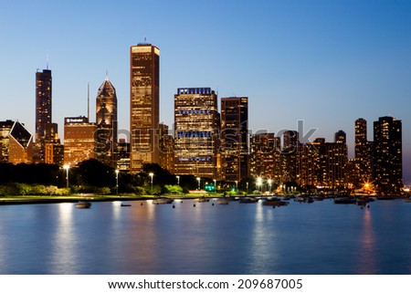 Chicago, USA - 12 July 2014: The Chicago skyline just after sunset on a hot summer's day in Illinois, USA