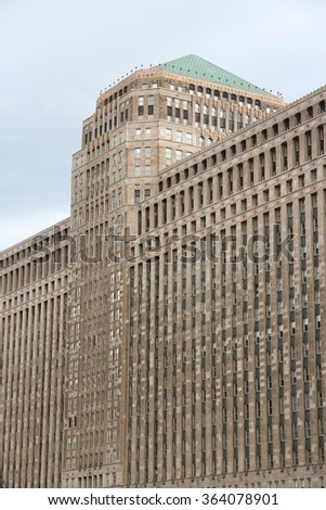 CHICAGO, USA - JUNE 26, 2013: Merchandise Mart building exterior. It was largest building in the world at the time of completion (1930) with 4,000,000 square feet of area. - stock photo