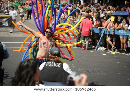 CHICAGO, USA  - JUNE 24: 800,000 people attended the annual Chicago Gay Pride parade in Chicago, USA on June 24, 2012. - stock photo