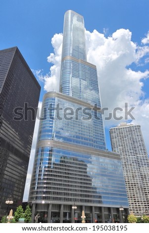 CHICAGO, USA - JUNE 28, 2013: Trump International Hotel & Tower in Chicago. It is 423m tall and was finished in 2009. As of 2013 it is 2nd tallest building in Chicago and 3rd tallest in the USA.