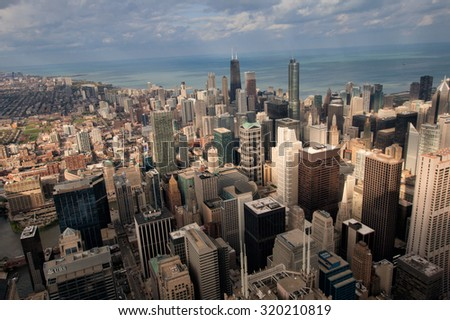 CHICAGO, USA - 20 NOVEMBER, 2013: Chicago skyline panorama aerial view with skyscrapers and city skyline - stock photo