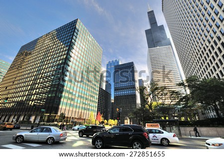 CHICAGO, USA - OCTOBER 6: City buildings near Chicago Union Station in downtown of Chicago, Illinois, in October 6th, 2014.Chicago is the biggest city in North of USA.