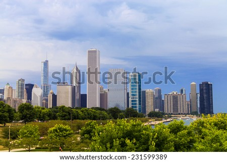 CHICAGO / USA - SEPTEMBER 8 2013 : Cityscape of Chicago. Aerial view of Chicago downtown at sunset from high above from a park at Chicago, Illinois , USA - stock photo