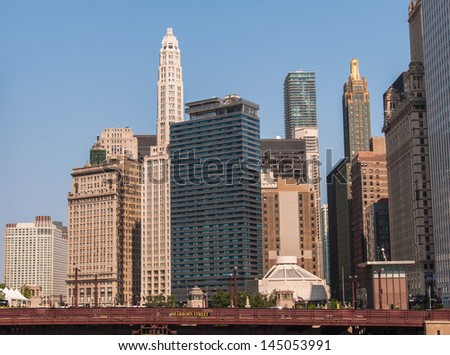 Chicago Waterfront and High Rise Buildings view with Dearborn bridge and river walk, Illinois USA. Lifestyle series. - stock photo