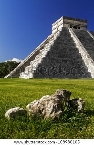 Chichen Itza and stone - stock photo