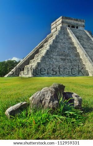 Chichen Itza and stones - stock photo